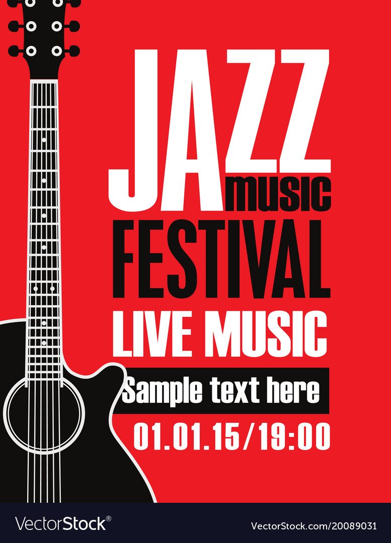 Banner for festival jazz music with a guitar