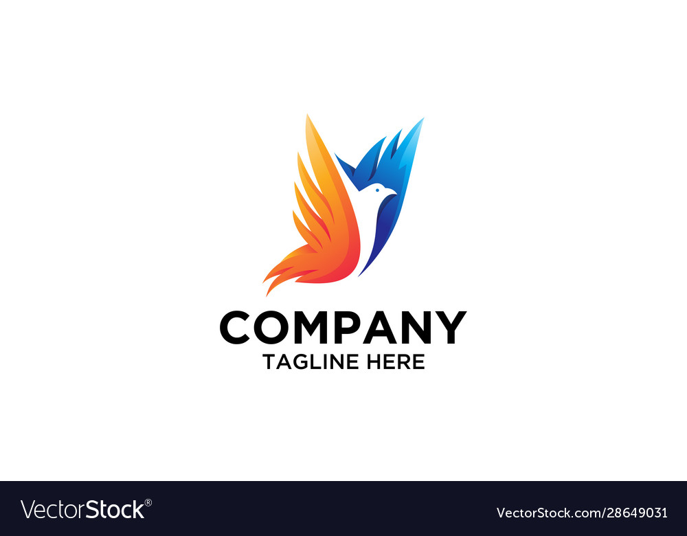 Colorful abstract flying bird wing logo vector image