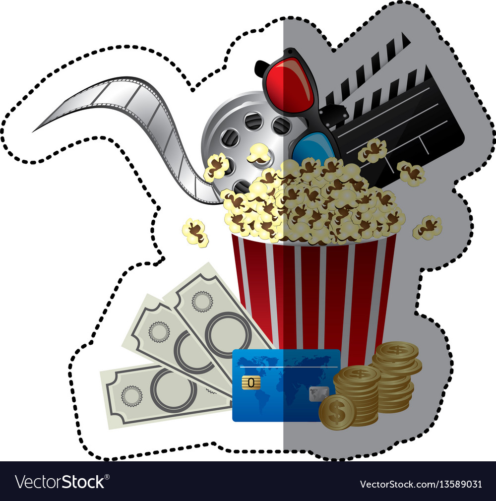 Colorful sticker with popcorn cup with glasses 3d