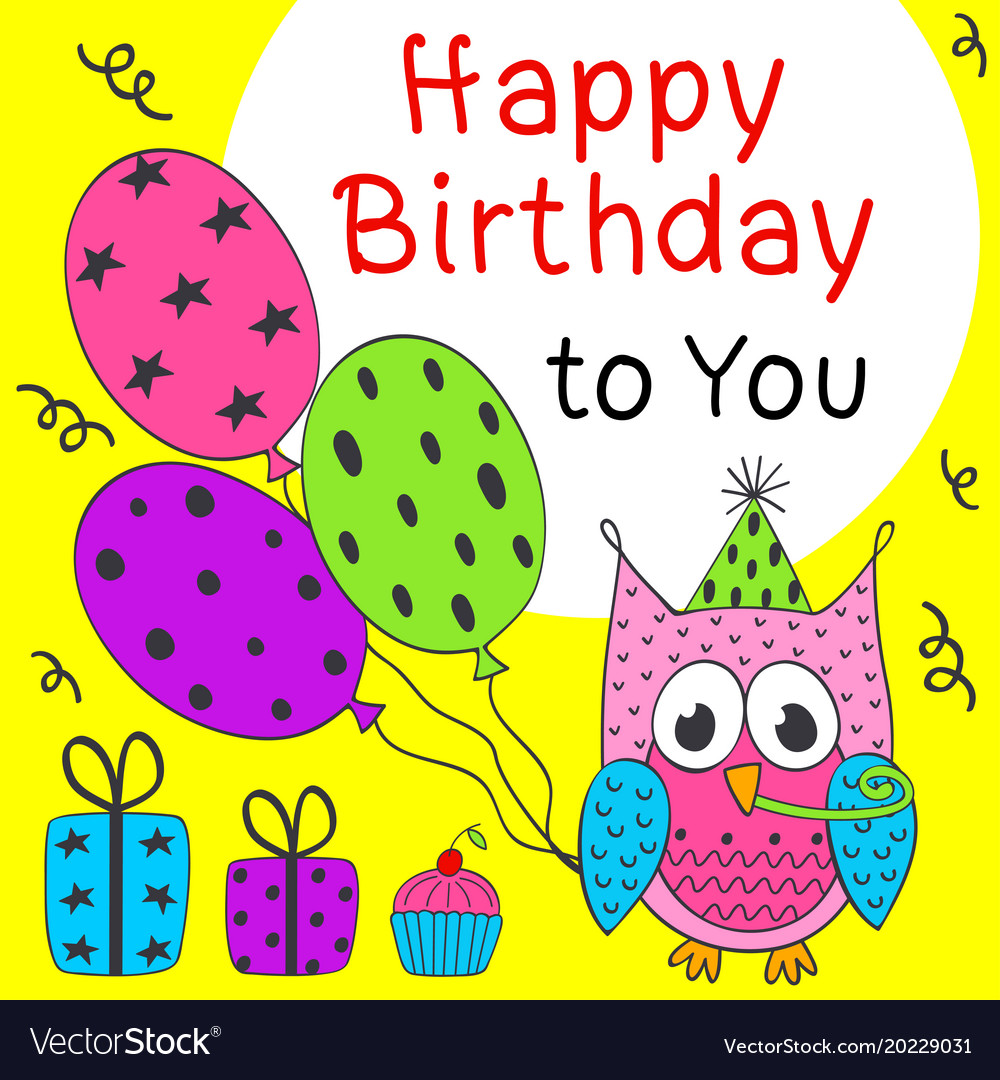 Happy birthday card with funny owl vector image