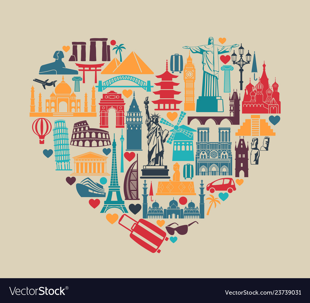 Heart of symbols icons world tourist attractions