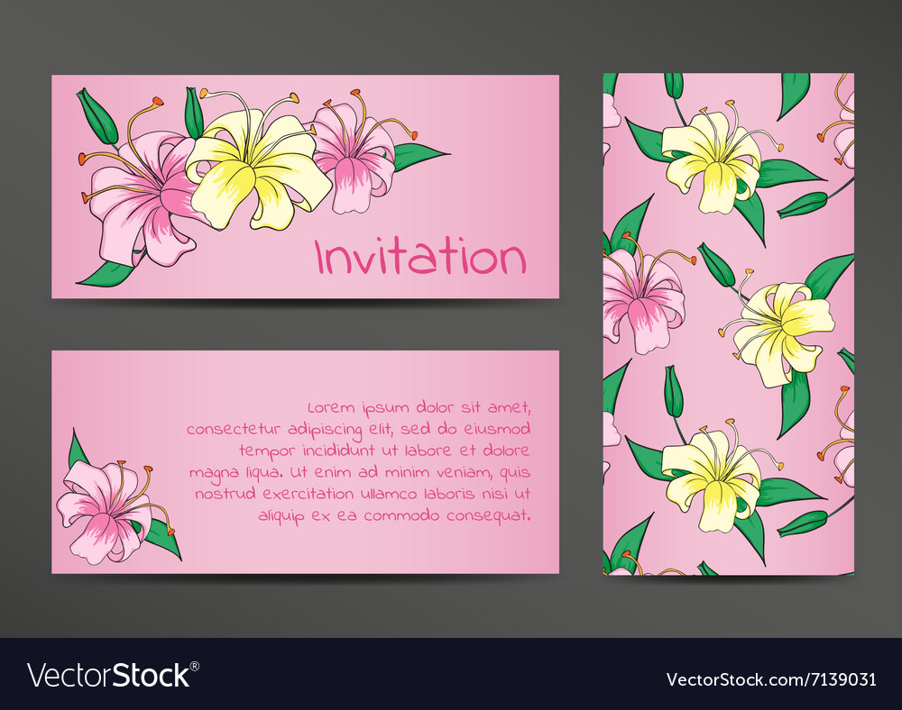 Invitation template with lily flowers on pink vector image