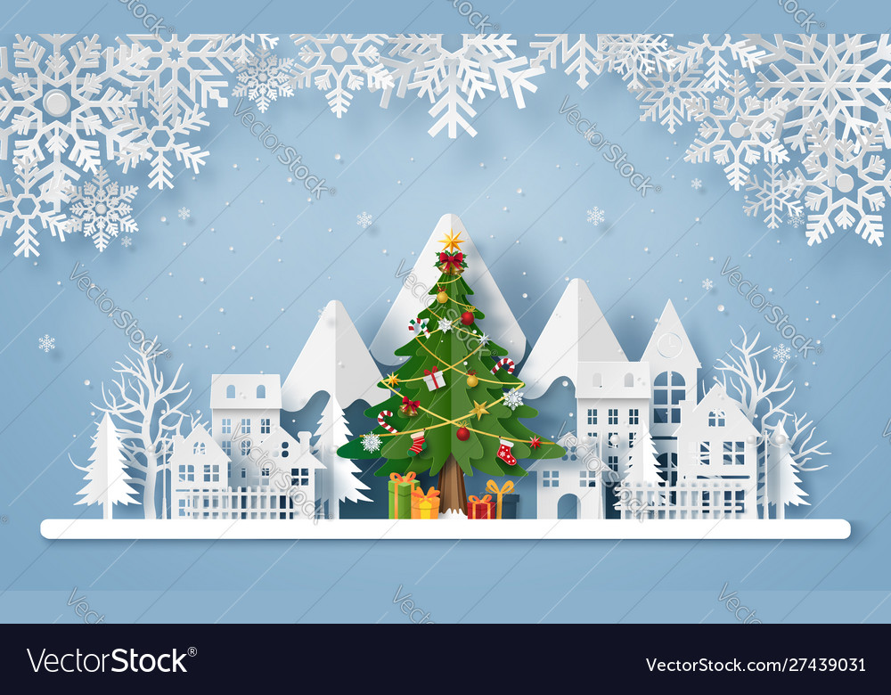 Origami paper art christmas tree in village