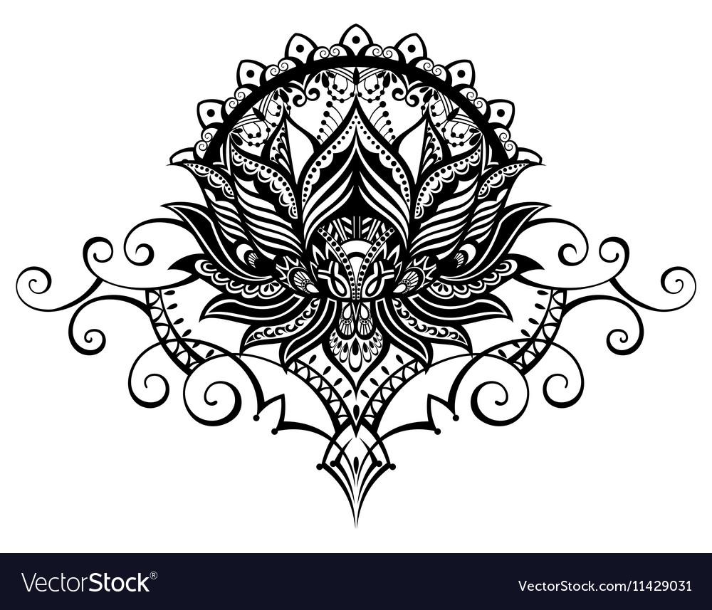 Ornamental Lotus Flower Royalty Free Vector Image