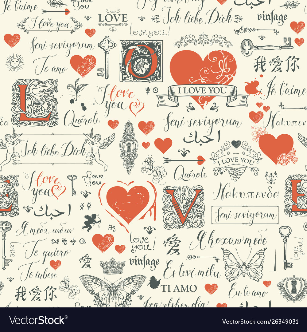 Seamless pattern with love lettering and hearts