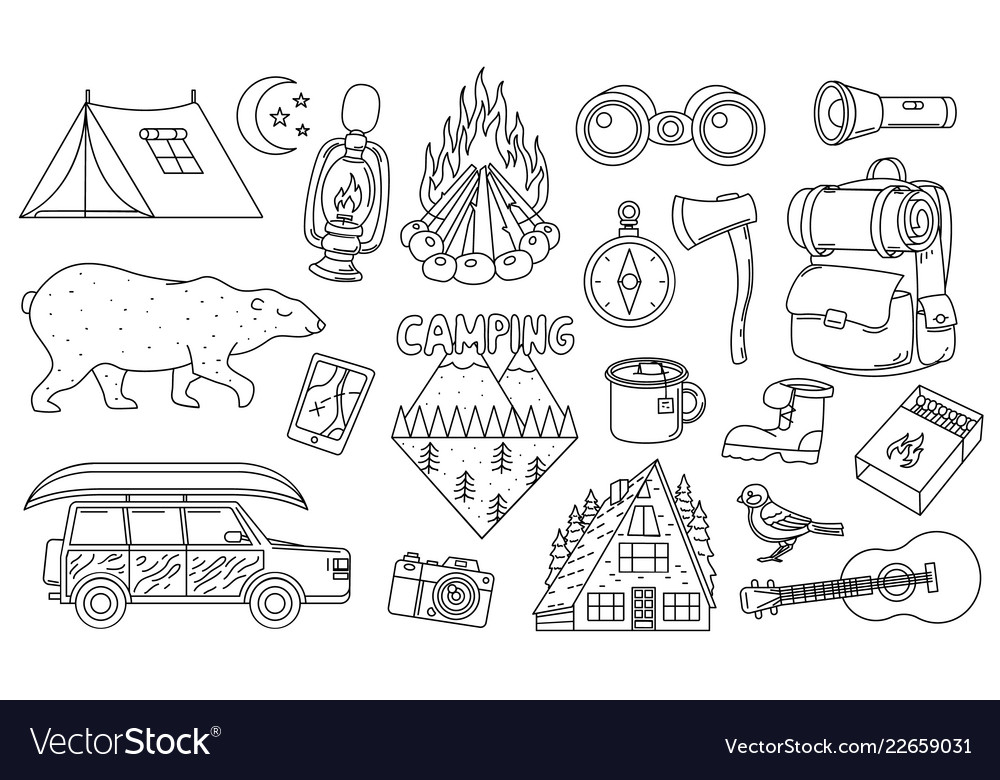Set of cute camping elements stickers doodle