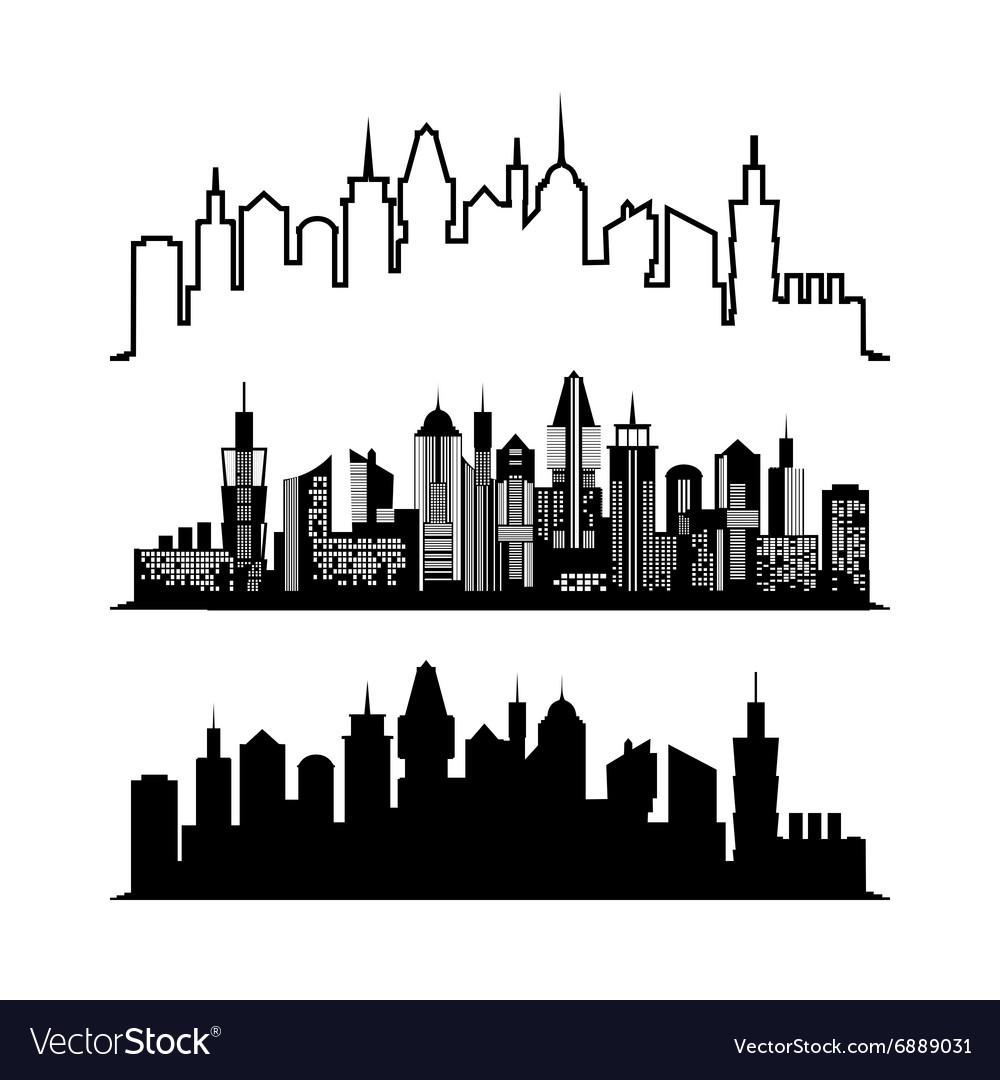 Set of skyscraper sketches City architect design