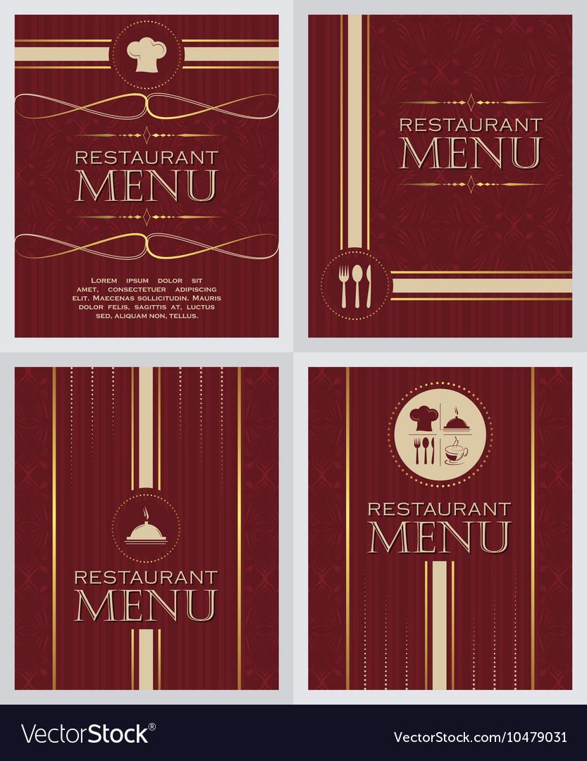 Set Restaurant Menu Design Cover Template In Vector Image