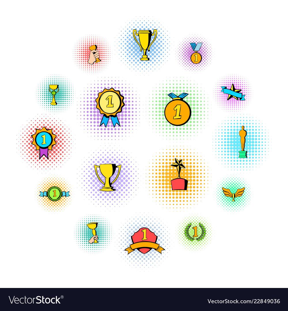 Award icons set comics style