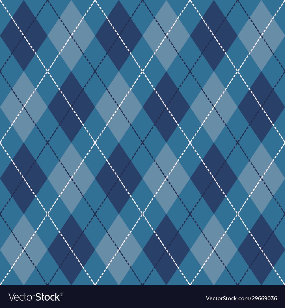 Blue black and white seamless argyle pattern