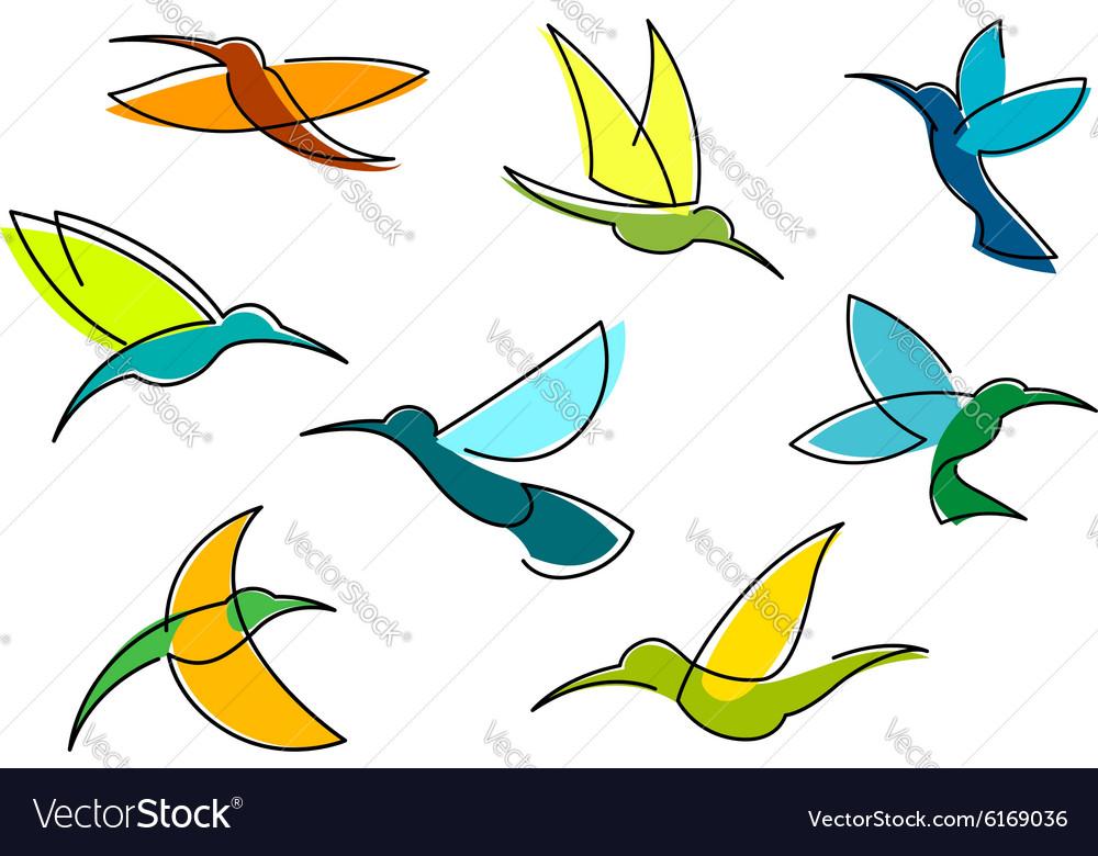 Blue orange and green hummingbirds icons
