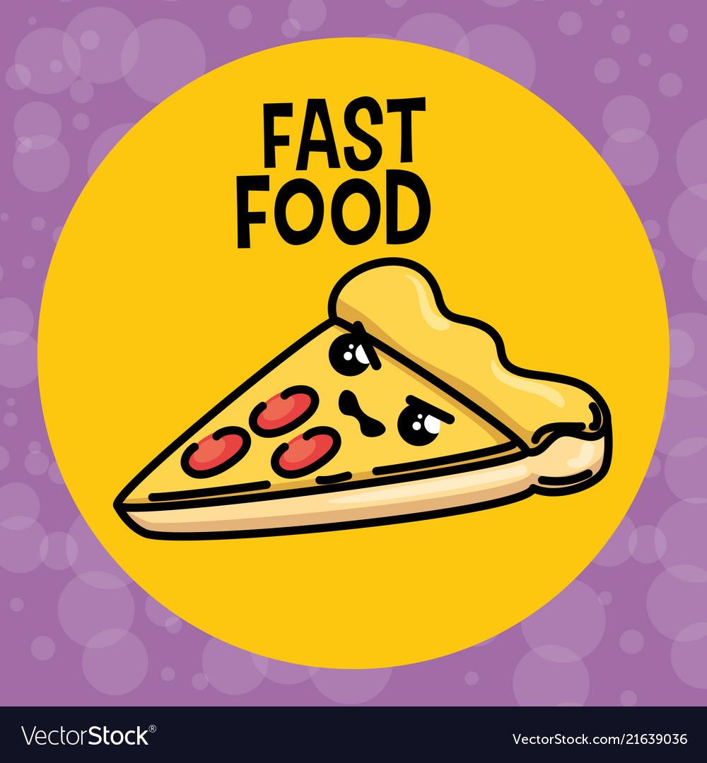 Delicious Pizza Kawaii Character