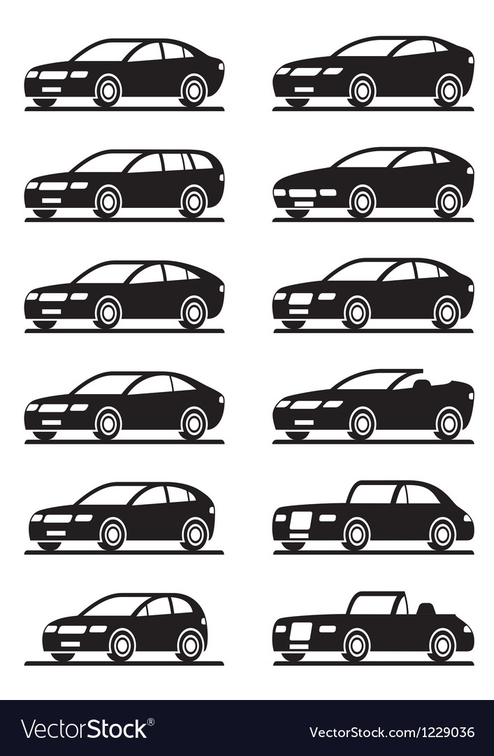 Different modern cars in angle