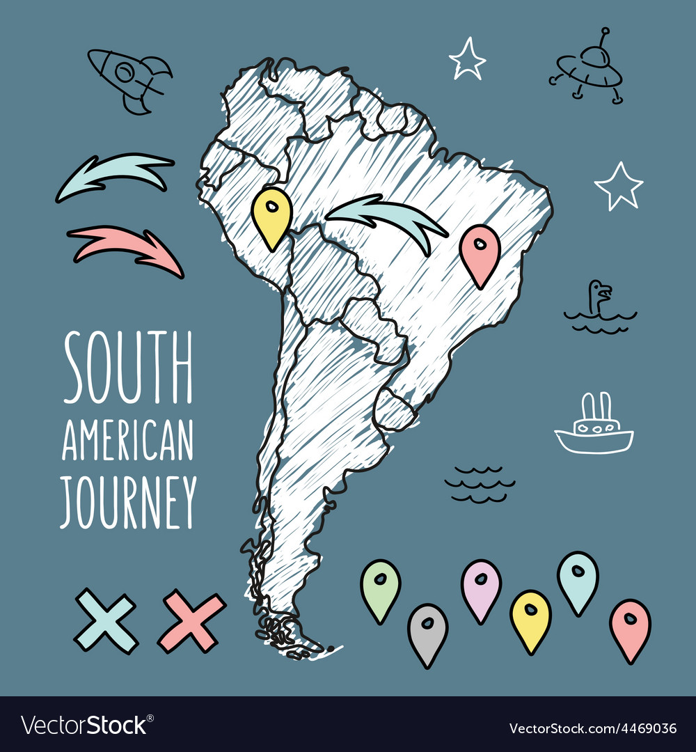 Doodle South America map on navy blue chalkboard