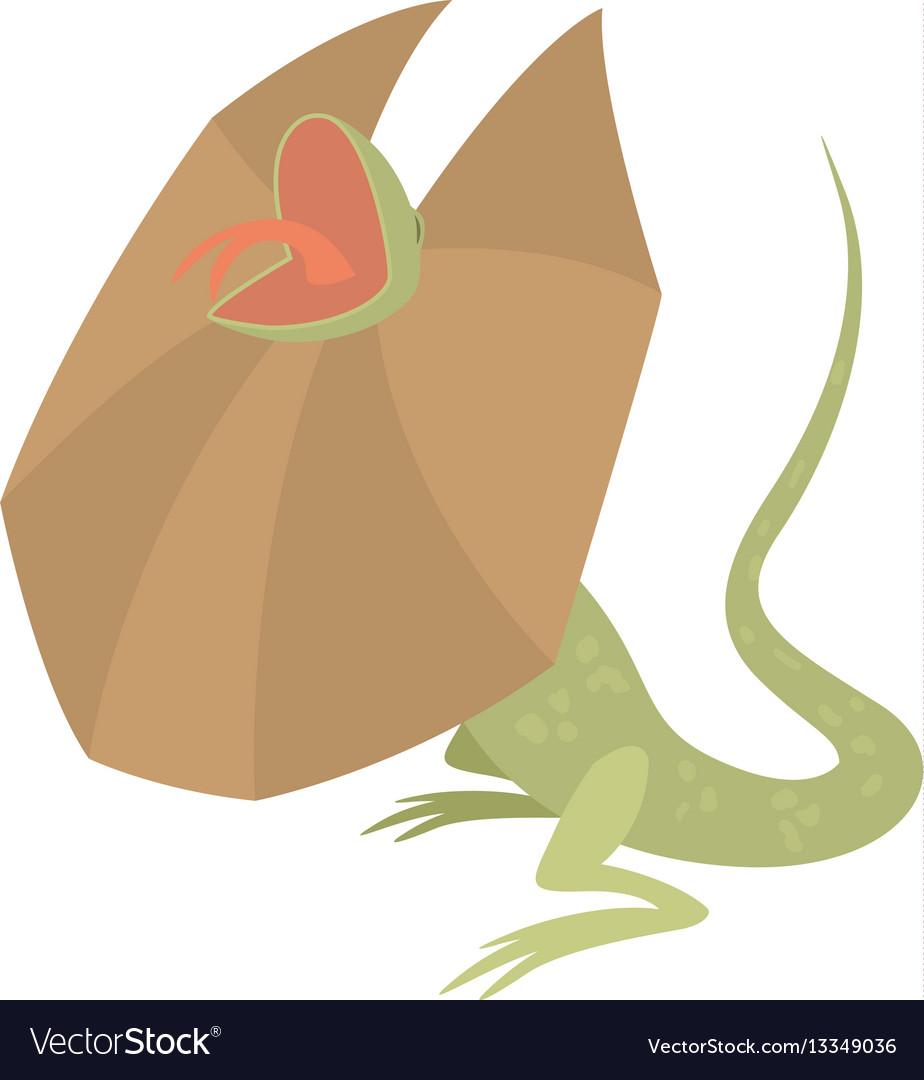 Frill necked lizard icon cartoon style
