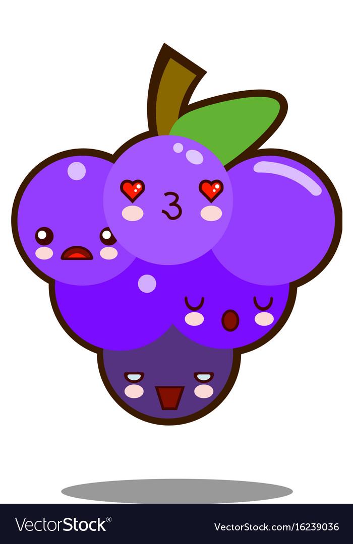 Grapes fruit cartoon character icon kawaii flat