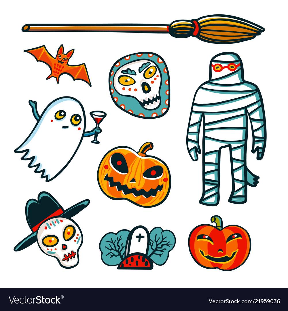 Halloween design elements cartoon pumpkins mummy