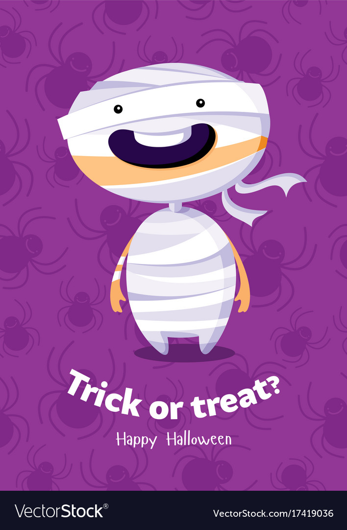Halloween poster trick or treat with mummy on