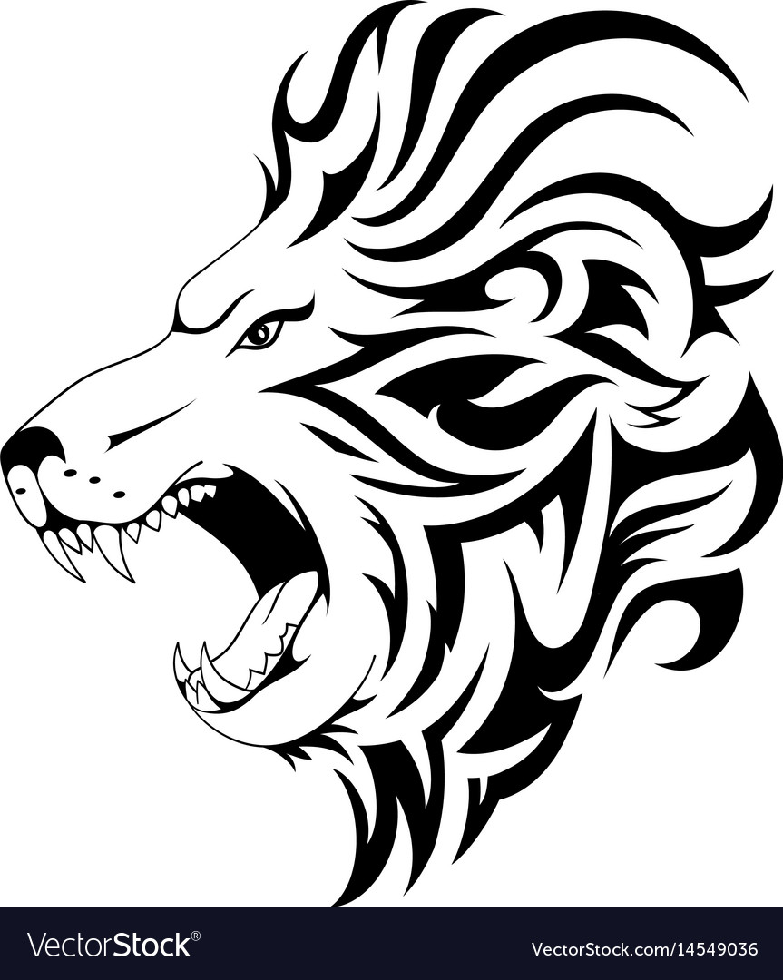 Lion tribal tattoo design Royalty Free Vector Image