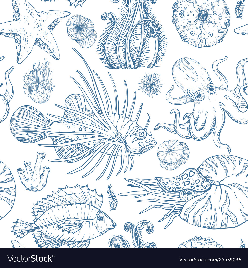 Seamless pattern with sketch deepwater living