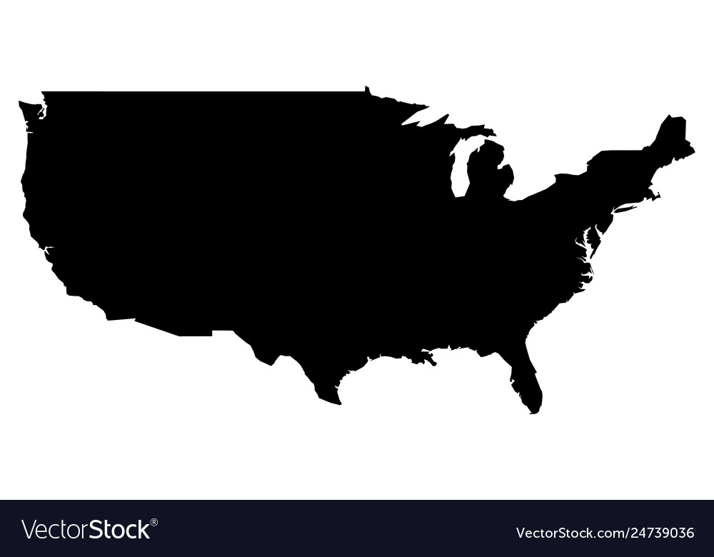 map of united states vector Simple only sharp corners map united states Vector Image