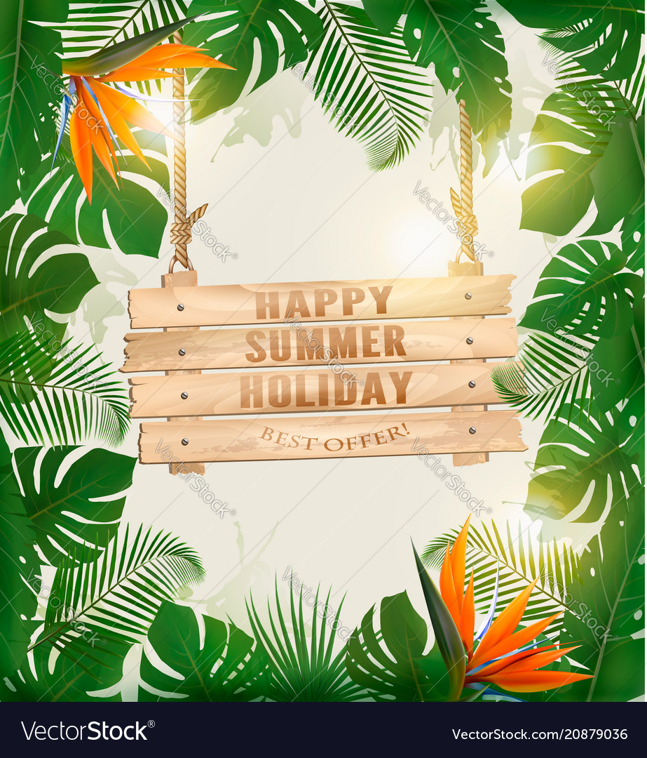 Summer holiday background with exotic palm leaves