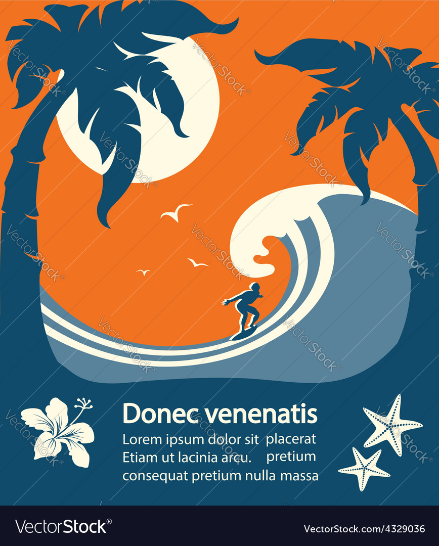 Surfer and big sea wave tropical island