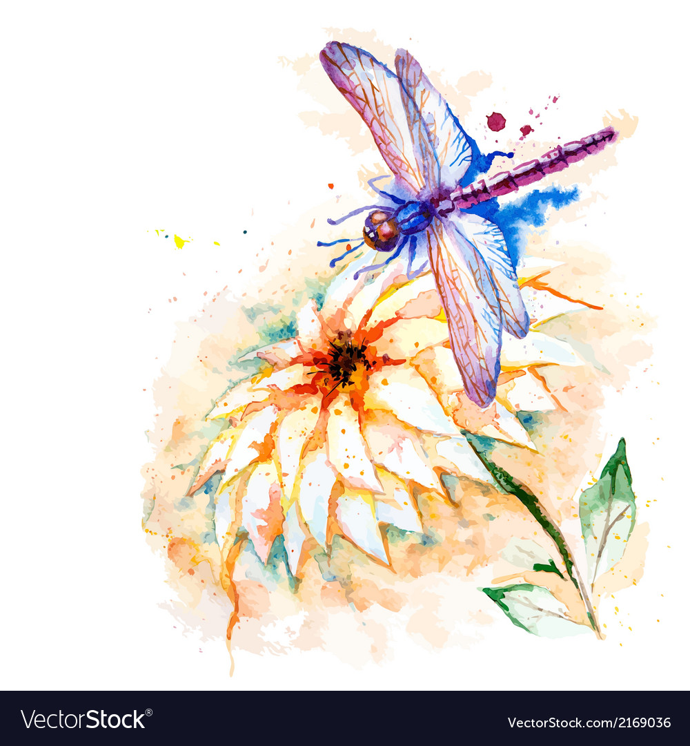 Water color dragonfly with lily flower