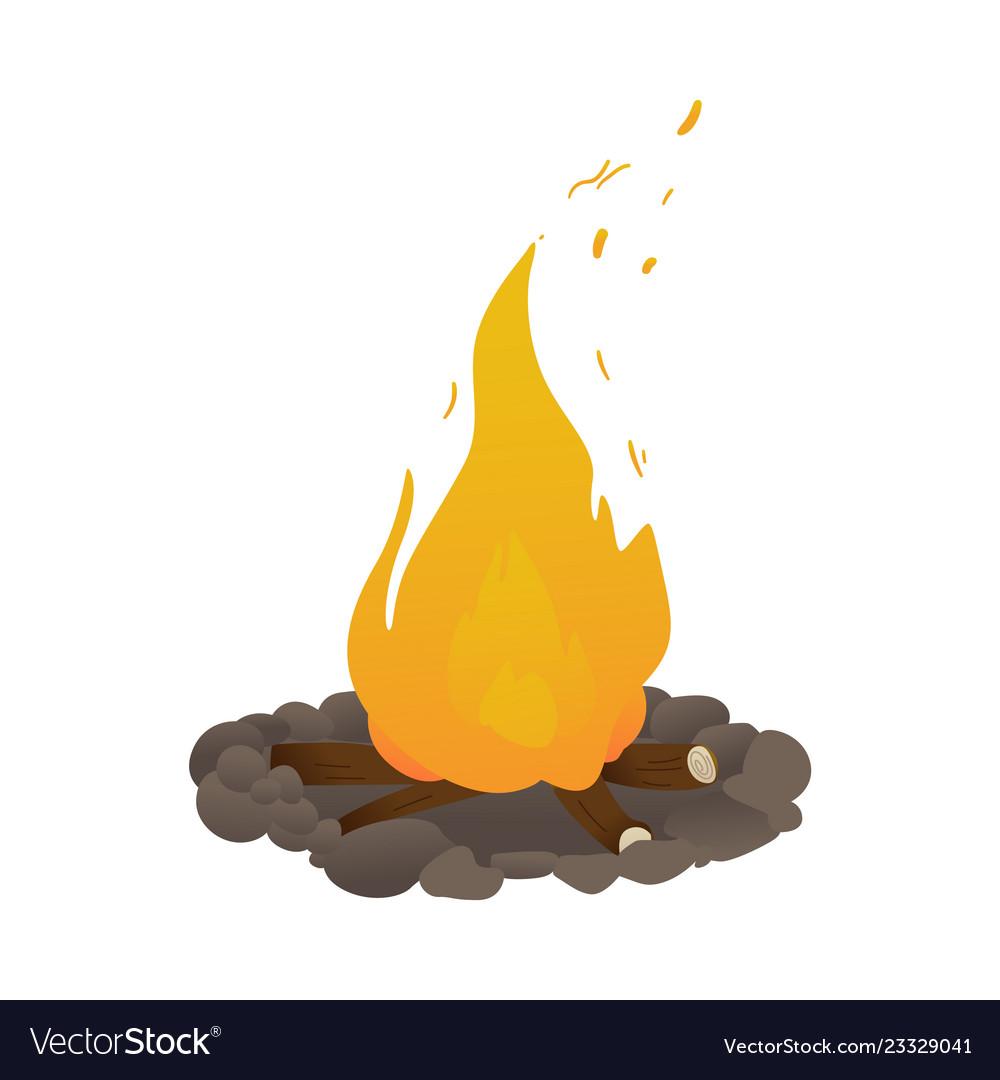 Burning bonfire cartoon icon for camping
