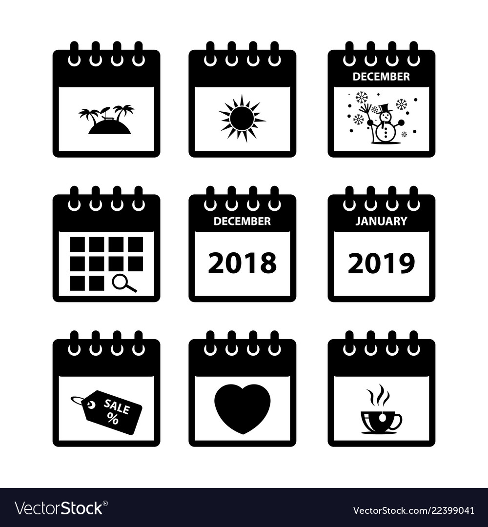 Calendar icons for web design Royalty Free Vector Image