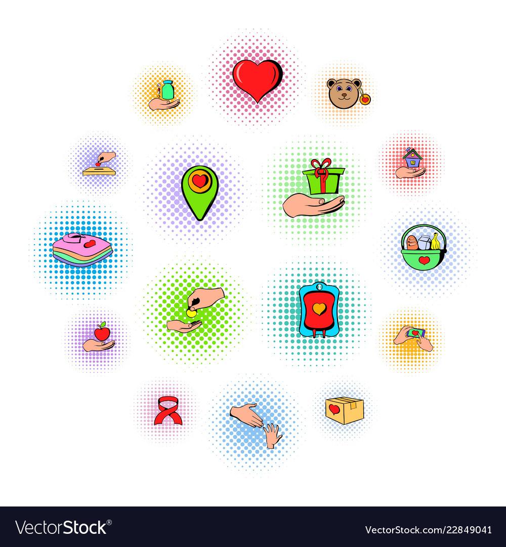 Charity icons set comics style