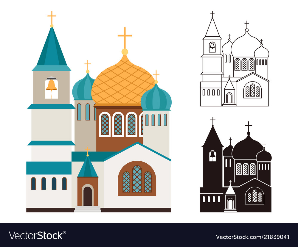 Christian churches flat and linear icons set