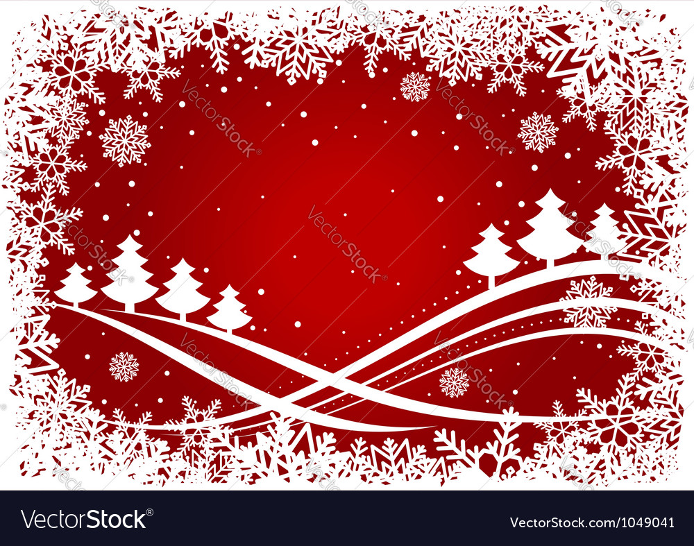 Christmas background with pines and snowflakes