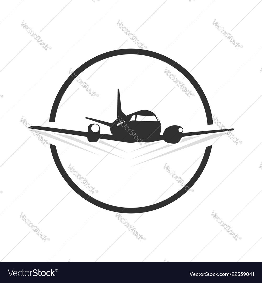 circle travel plane logo template in blacn and vector image