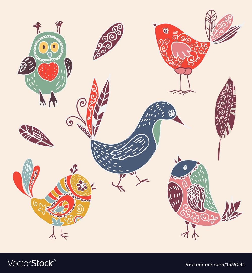 Color vintage cute cartoon birds doodle set