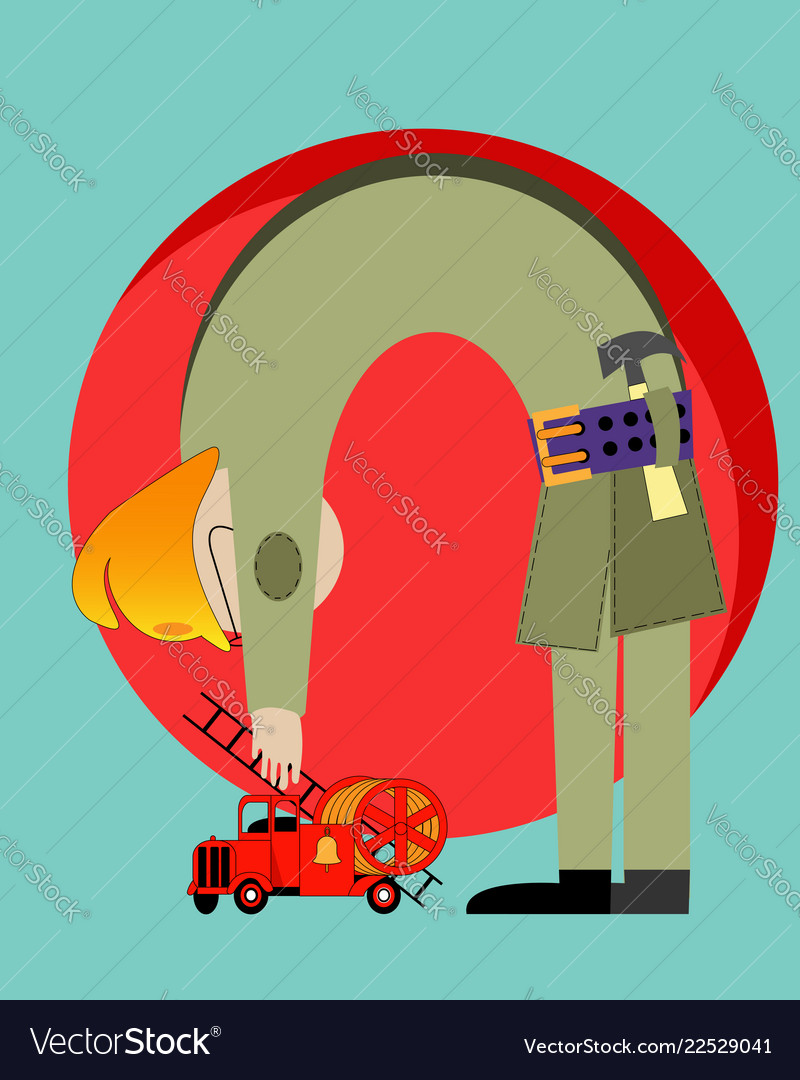 Creative drawing of a fireman