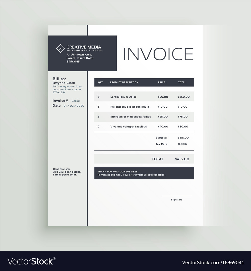 Creative Invoice Template Design Royalty Free Vector Image