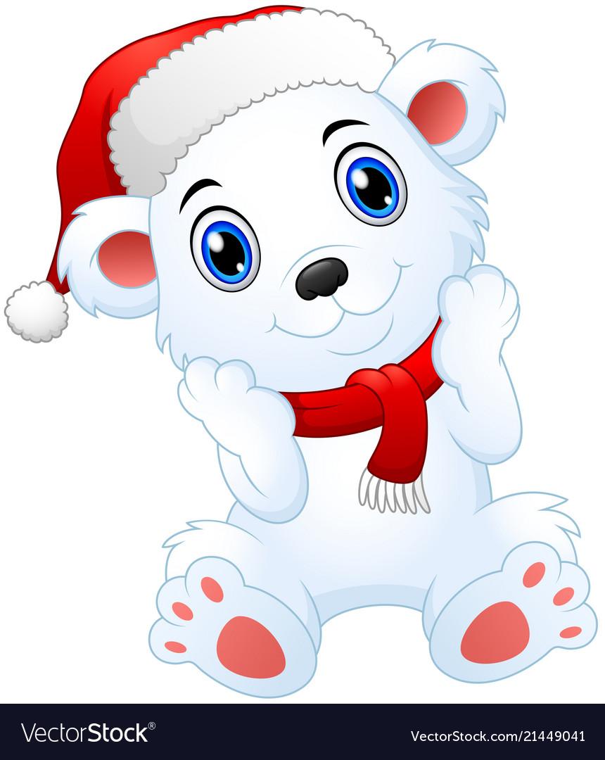 Christmas Images Free Cartoon.Cute Christmas Polar Bear Cartoon