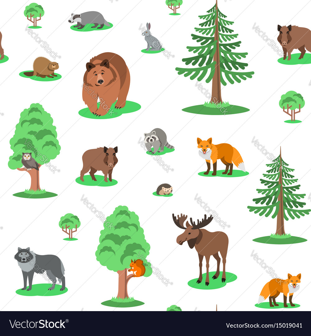 Cute forest animals seamless background pattern