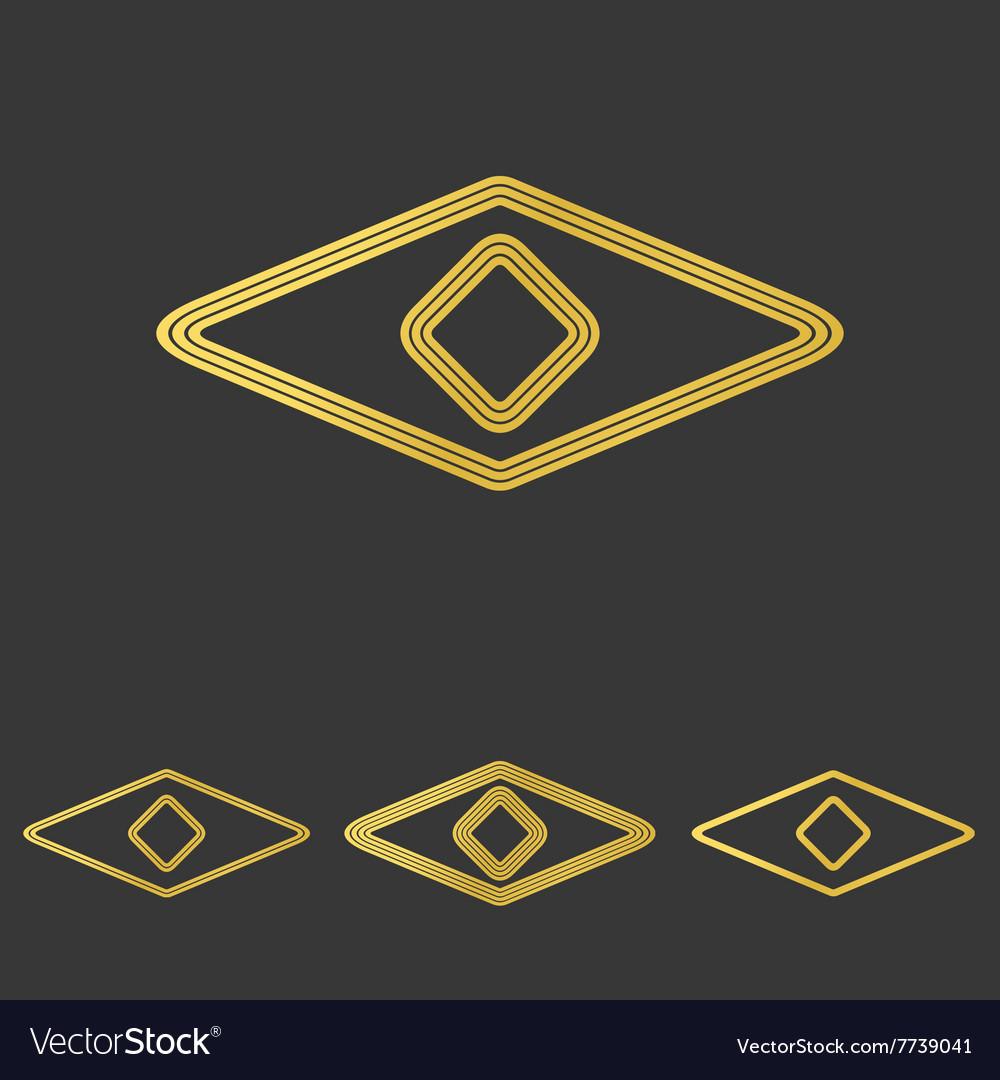 Golden line eye logo design set