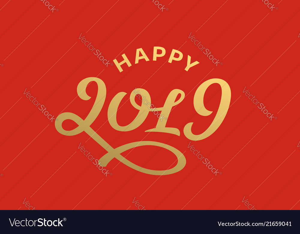 Happy new year 2019 lettering greeting card design