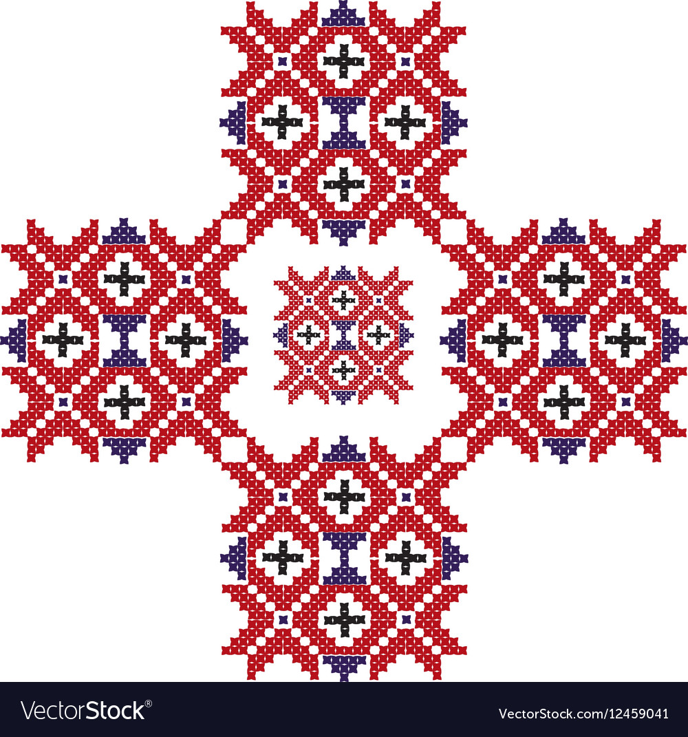 Red Embroidery Pattern Royalty Free Vector Image