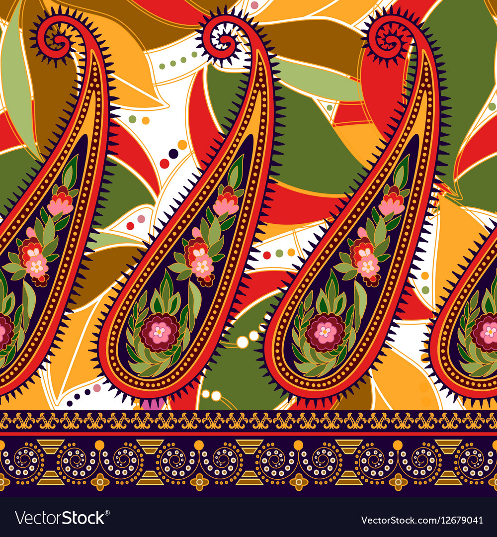 Seamless Paisley background floral pattern