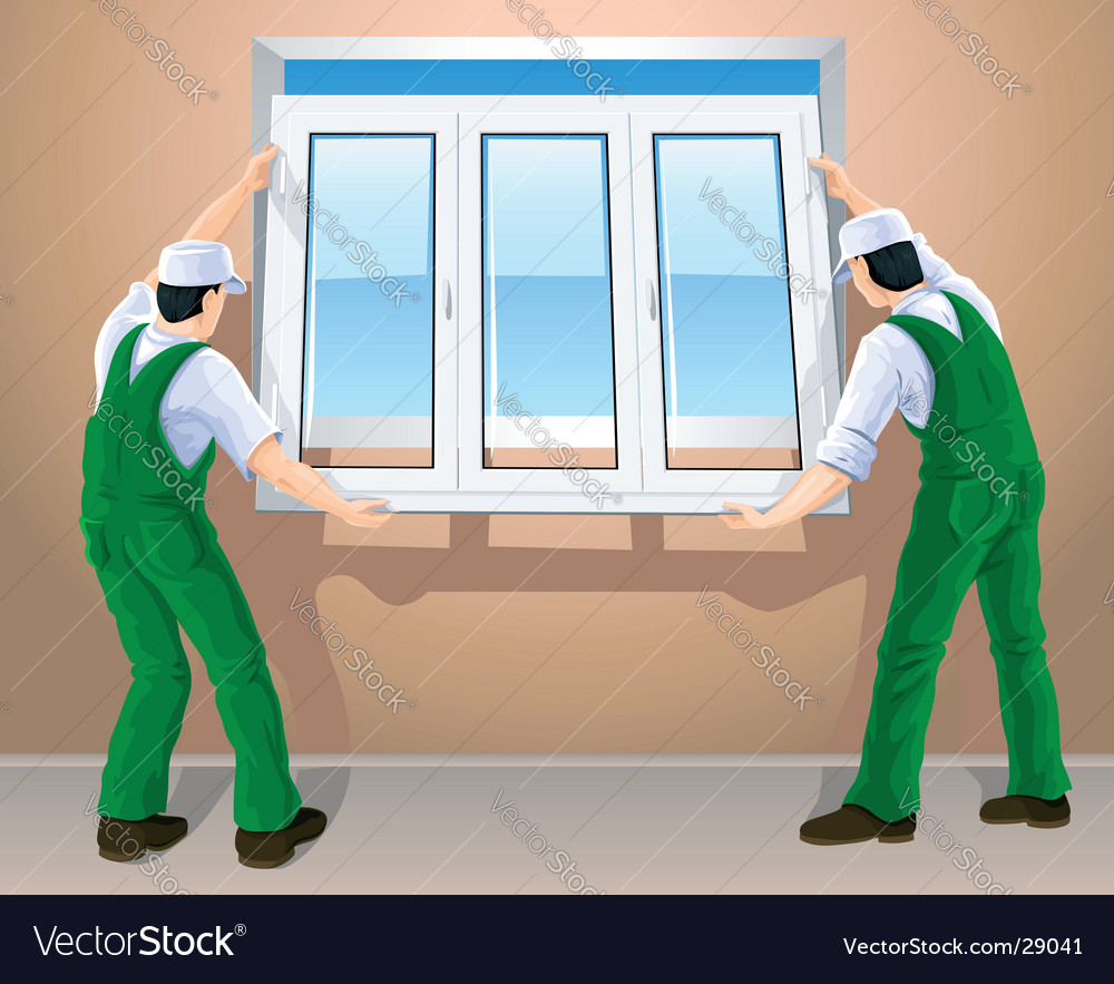 Workers and plastic window vector