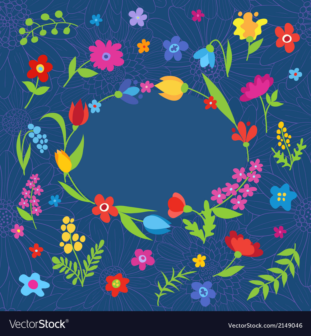 Beautiful greeting card with spring flowers blue