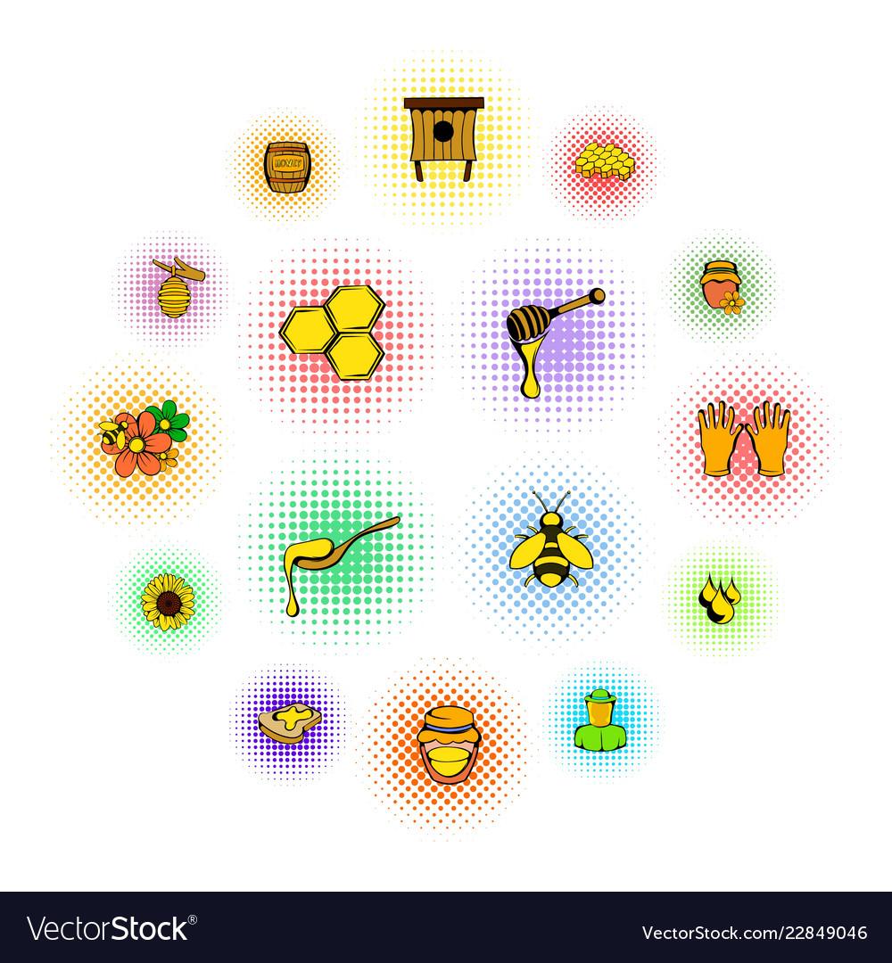 Beekeeping icons set comics style