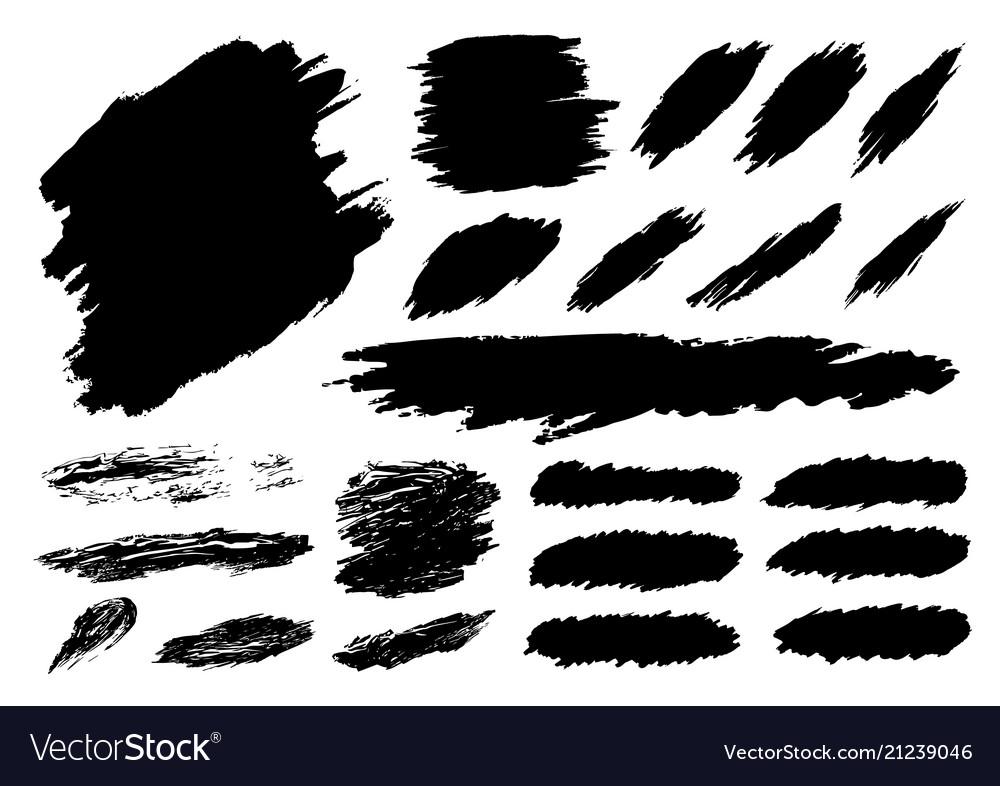 Black paint brush stroke on white background