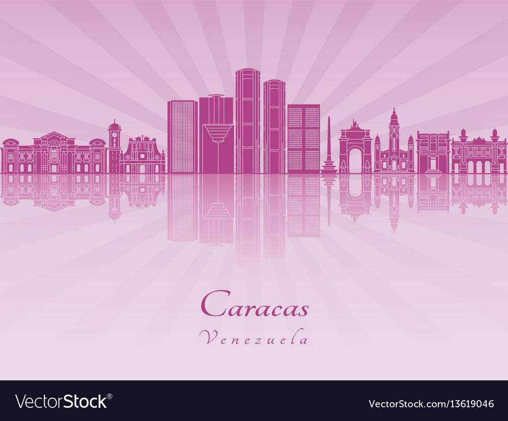 Caracas v2 skyline in purple radiant orchid