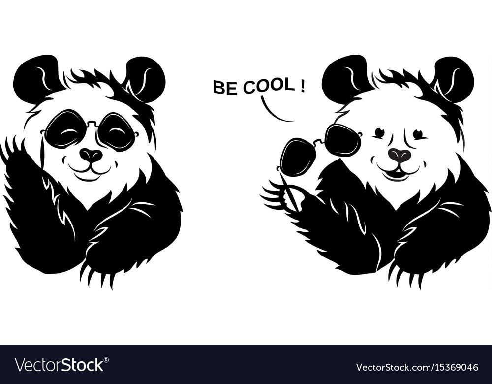 Cool Panda Draws Off Glasses Vector Image