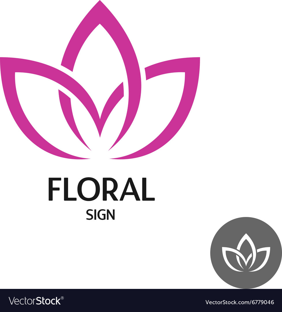 Floral logo with three leaves of linear smooth